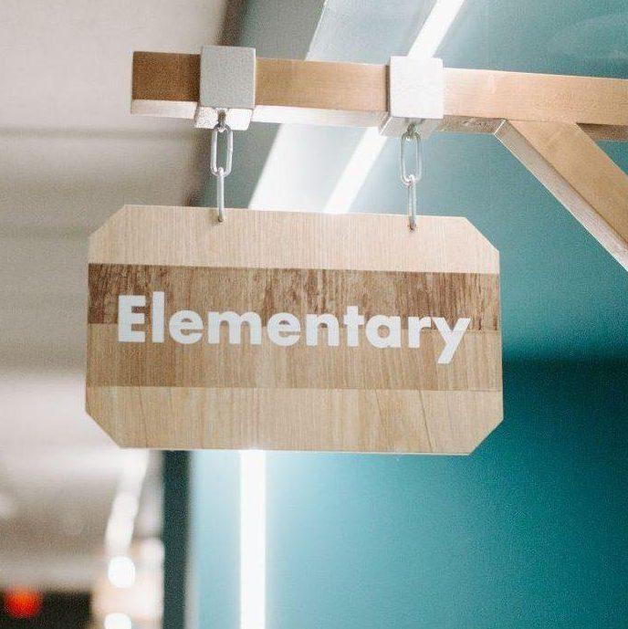 The Point hallway elementary sign
